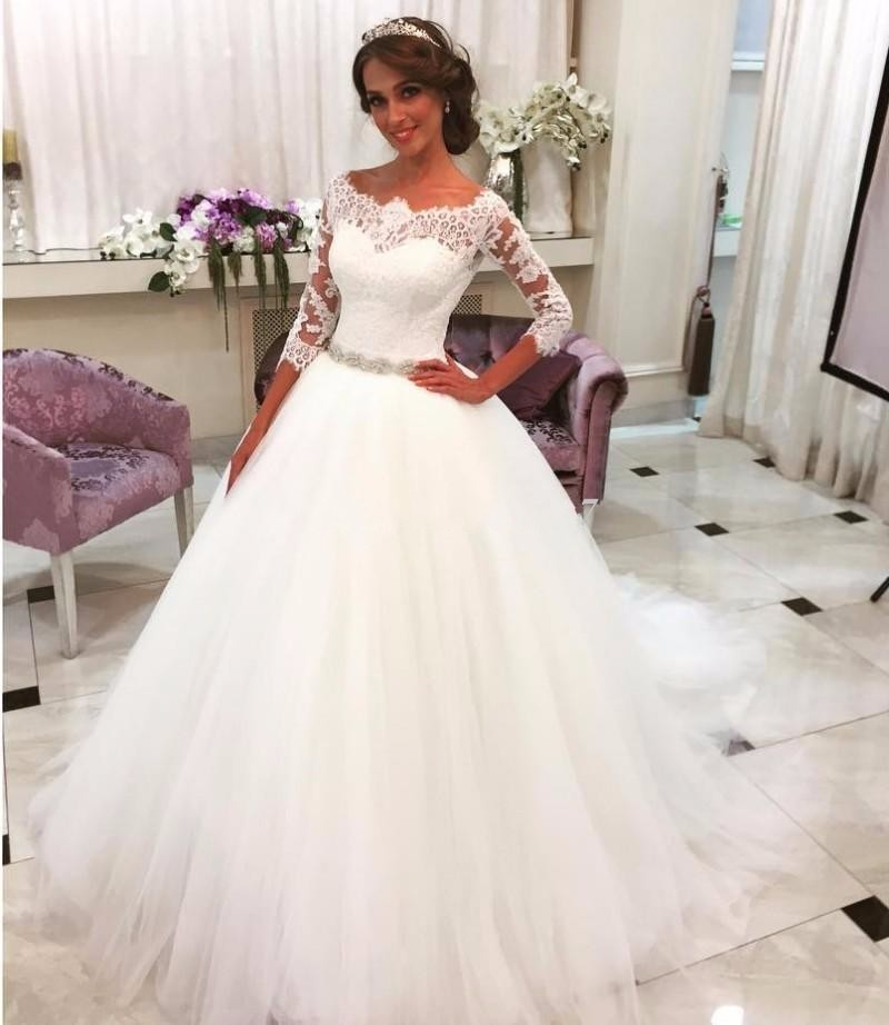 Sheer Lace Ballgown Wedding Dress With 3 4 Length Sleeves On Luulla
