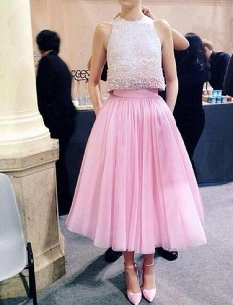 Two Piece Prom Dresses,Pink Two Piece Cut Out Shoulder Prom Dress ...