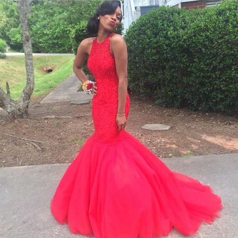 Red Prom Dress,Mermaid Prom Dress,Lace Tulle Prom Gown,2016 Prom ...