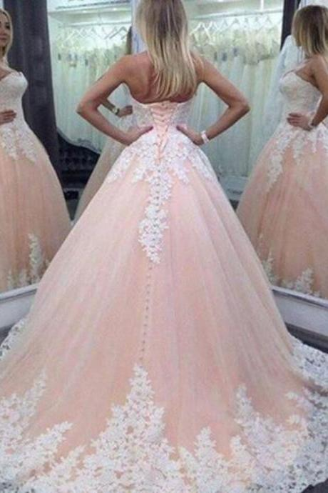 Custom Made Pink Strapless Corset Bodice Princess Ball Gown with Lace Applique