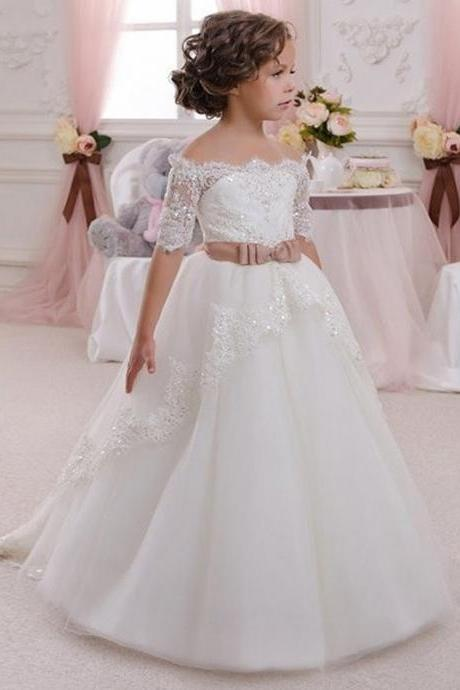 Beautiful White Ivory Flower Girl Dresses Beaded Tulle Baby Girl Prom Perform Brithday Ball Gowns