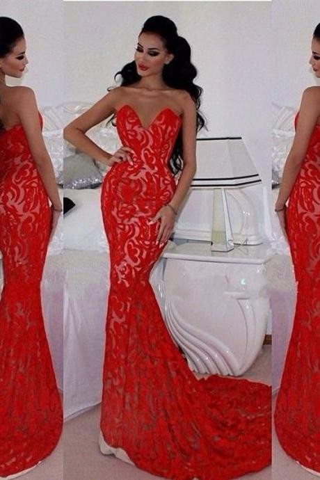 Sexy Mermaid Prom Dresses,Long Evening Dresses,Prom Dresses,Lace Evening Dresses