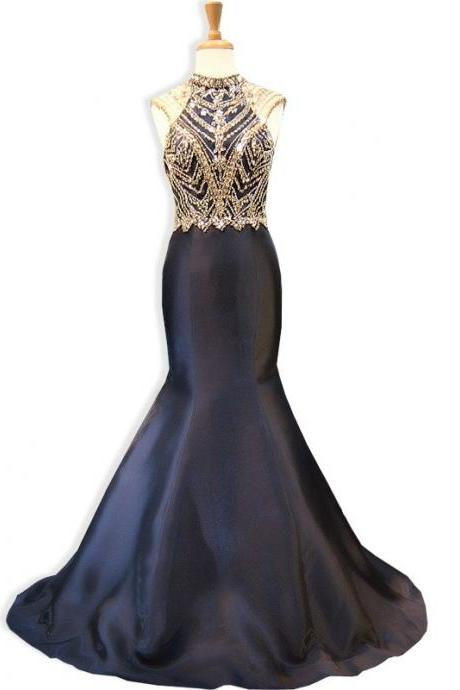 Mermaid Evening Dress, Black Evening Dress, Beaded Evening Dress, Long Evening Dress, Sexy Evening Dress, Backless Evening Dress, Formal Dresses 2017, Cheap Formal Dress, Satin Formal Dress